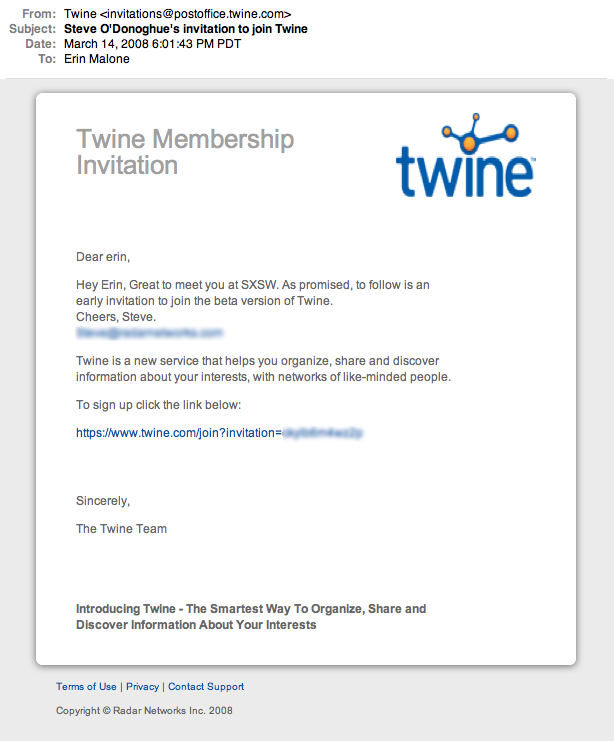 Twine invitation to join
