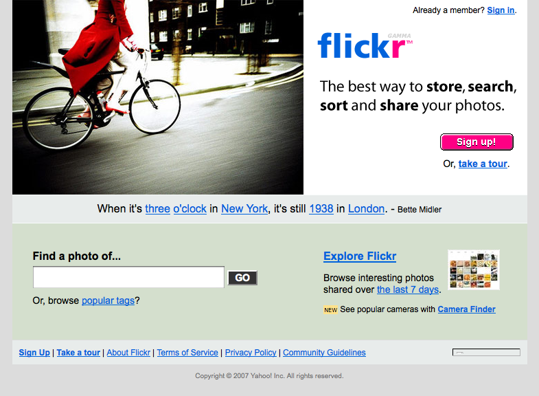 flickr.com moved into gamma in late 06/early 07