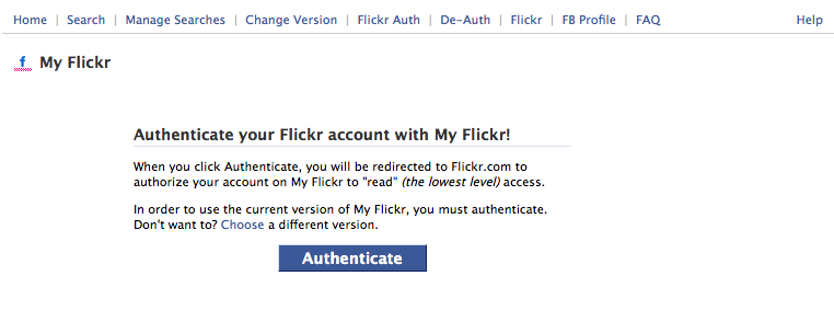 Flickr authenticate authorization screen on Facebook